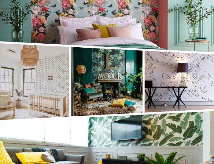 deco tendance 2020 pour une chambre à coucher adulte, modèle de papier peint de couleur vert pastel aux motifs floraux
