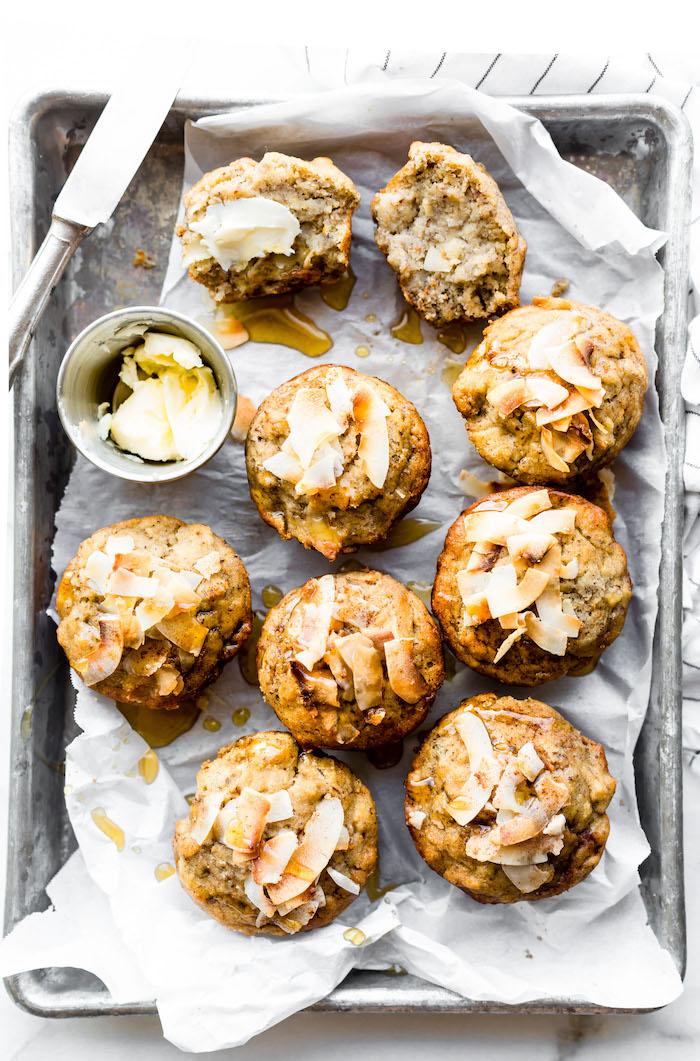 muffins banane avec flocons de noix de coco grillé, gouter regime, que manger pour maigrir