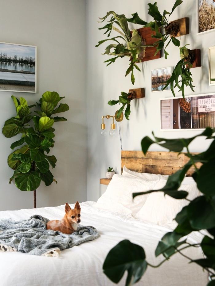 exemple comment décorer sa chambre de style bohème avec plantes et objets décoratifs accrochés sur les murs