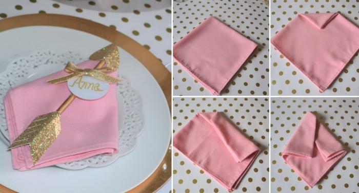 technique de pliage de serviette tissu rose avec décoration DIY sous forme de bâton de princesse dorée avec étiquette