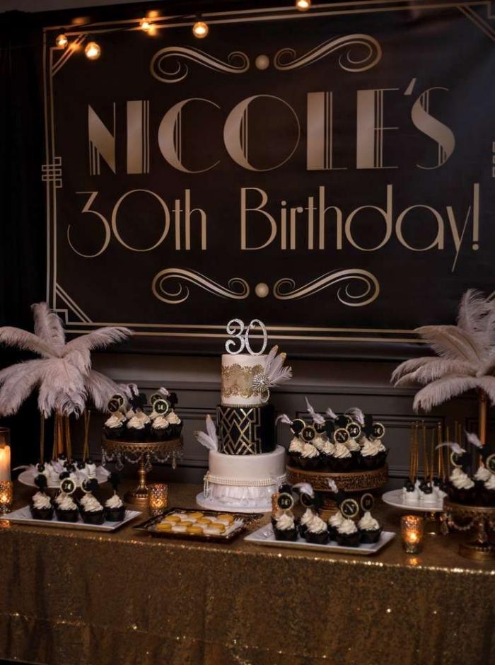 idée de theme anniversaire 30 ans, décoration table festive avec gâteau anniversaire et desserts muffins au chocolat
