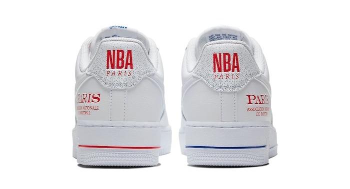 Une paire limitée de Air Force 1 NBA Paris Game pour marquer l'évènement du match NBA à l'Accorhôtel arena le 24 janvier 2020