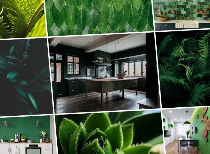 décoration de cuisine spacieuse aux murs à peinture vert emeraude, quelle couleur tendance pour une cuisine
