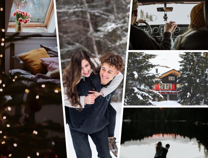 idée de voyage en couple dans un endroit romantique, fille et garçon amoureux qui s'amusent dans une forêt enneigée