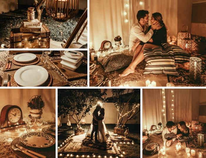idée de sortie en amoureux originale, organisation de pique nique à la maison avec coussins et jetés doux par terre