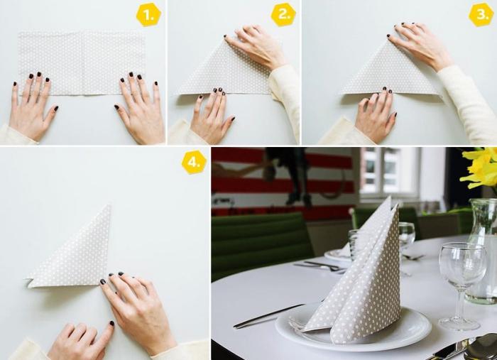 idée de pliage de serviette en papier facile pour anniversaire élégant, pas à pas pliage serviette en forme de triangle