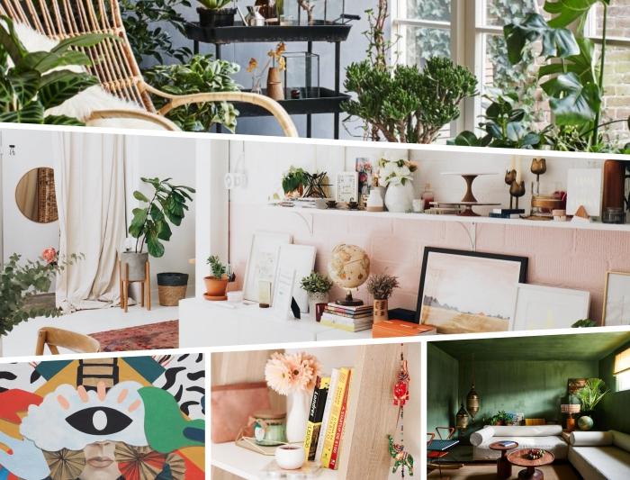 quels styles de decoration salon 2020, pièce aux murs bleu aménagée avec meubles en fibre végétale et plantes