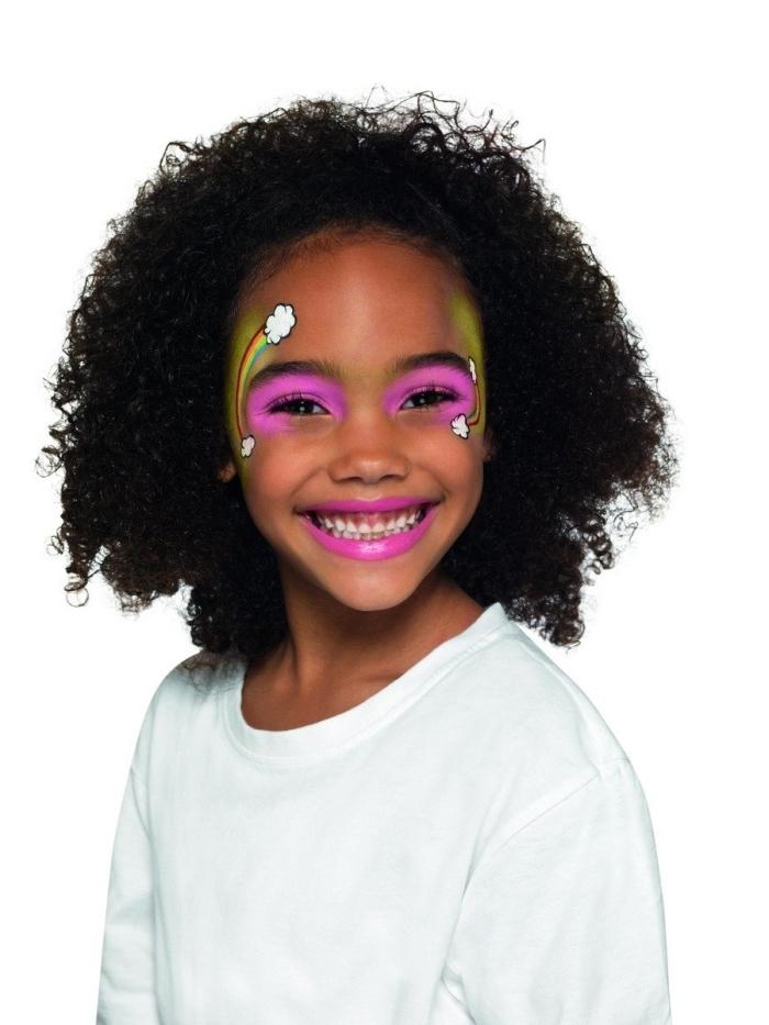 exemple de maquillage fille pour fête déguisée à réaliser avec peinture faciale à effet arc en ciel et fards à paupières rose