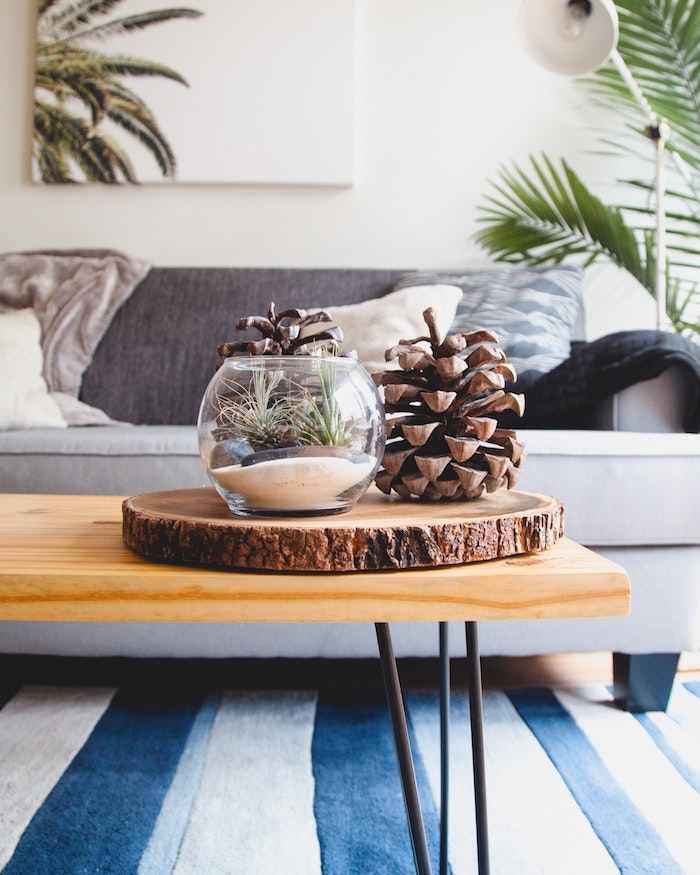 Table basse salon en bois, décoration d'hiver adorable avec cones de pin géantes, tapis blanc et bleu, peinture sur le mur
