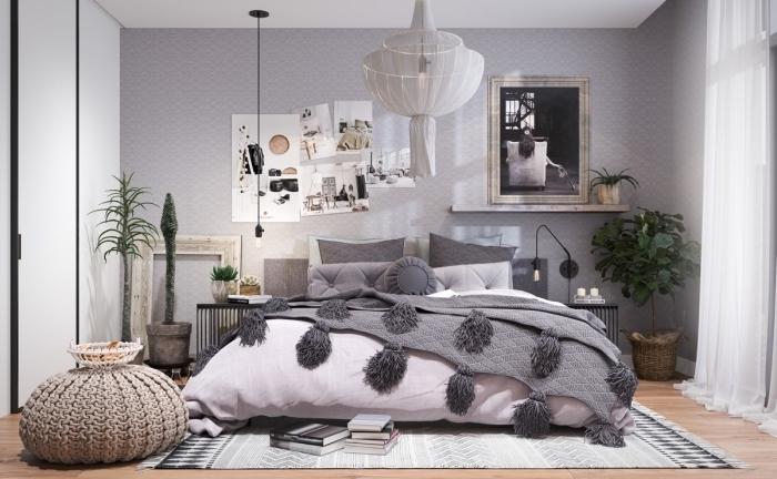 comment décorer une chambre à coucher de style moderne avec objets rétro chic en bois, idée deco lit avec jeté de lit gris à tassels