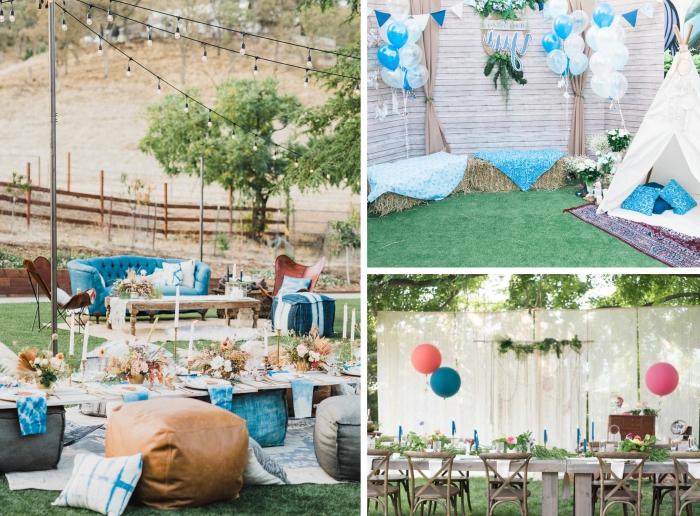 célébrer un anniversaire inoubliable 30 ans avec un party dans le jardin de style bohème chic, idée déco bohème pour party