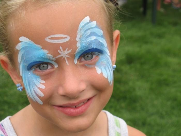 idée de technique de peinture facile et simple à effet masque deguisement enfant pour une fête déguisée ou carnaval