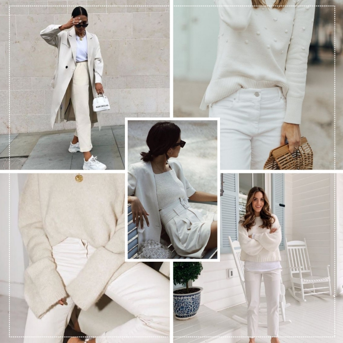 comment porter le blanc en hiver mode femme 2020, look total blanc en pantalon taille haute et blouse avec veste longue
