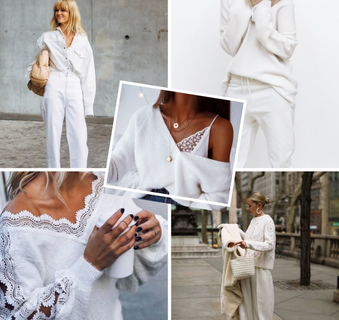 comment porter le blanc en hiver, modèle de pull blanc avec manches et décolleté en dentelle motifs volutes