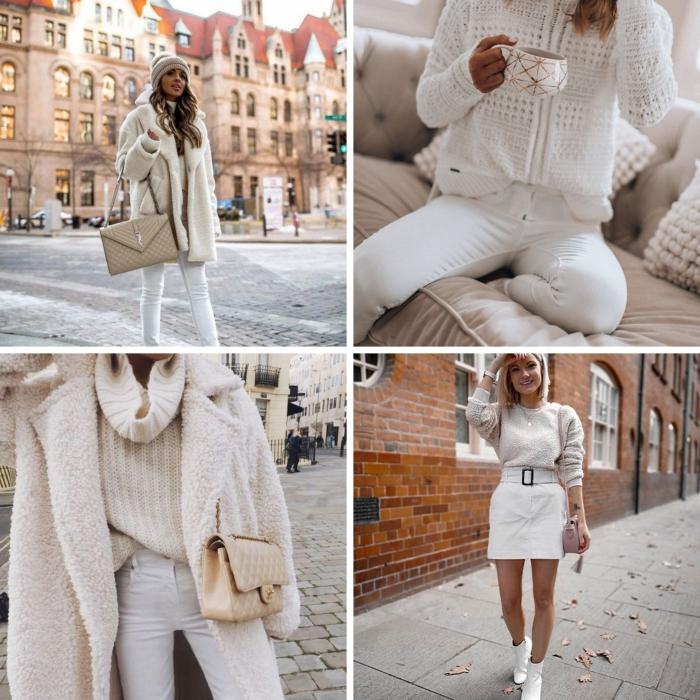 tenue chic femme moderne en vêtements de couleur blanc, look casual chic en jeans blancs avec manteau oversize