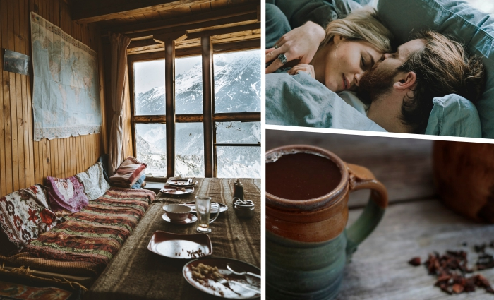activité insolite couple, passer un week-end en amoureux dans une cabane en bois dans les montagnes enneigées