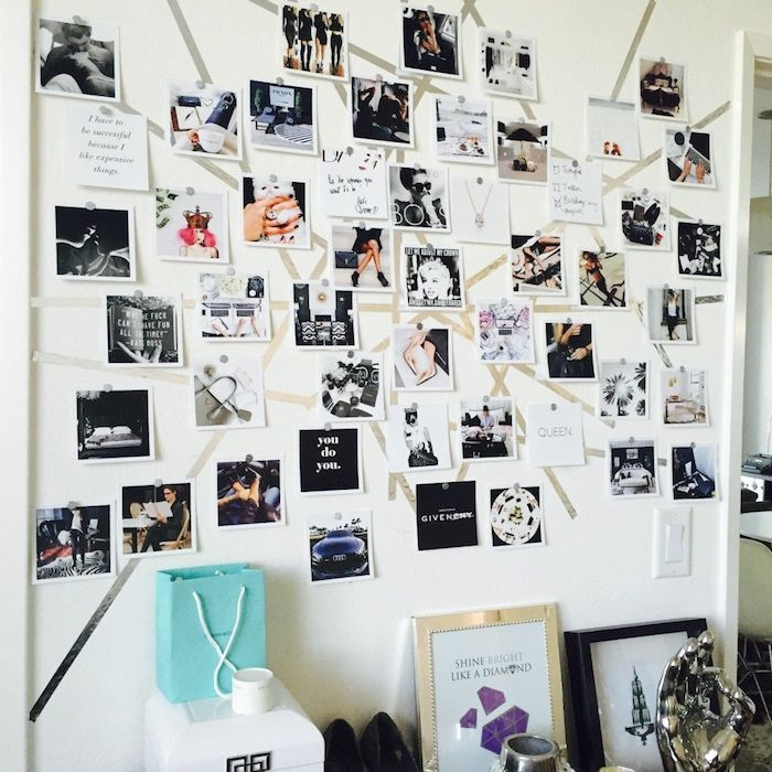 Photo noir et blanc composition sur le mur, déco chambre motivante, comment se motiver à faire quelque chose, collage des objectifs déco