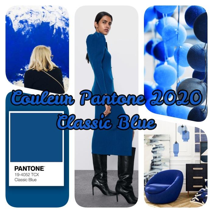 nuancier pantone et couleur pantone 2020 tendance, le bleu classique en mode, déco, design d'intérieur