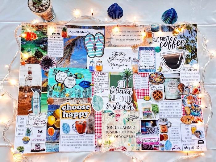 Collage de tout ce que je veux, coller des photos inspiratrices sur un tableau, photo guirlande lumineuse et tableau coloré
