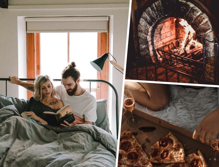 comment bien s'amuser en amoureux à la maison, couple amoureux qui lisent ensemble un livre dans un lit douillet