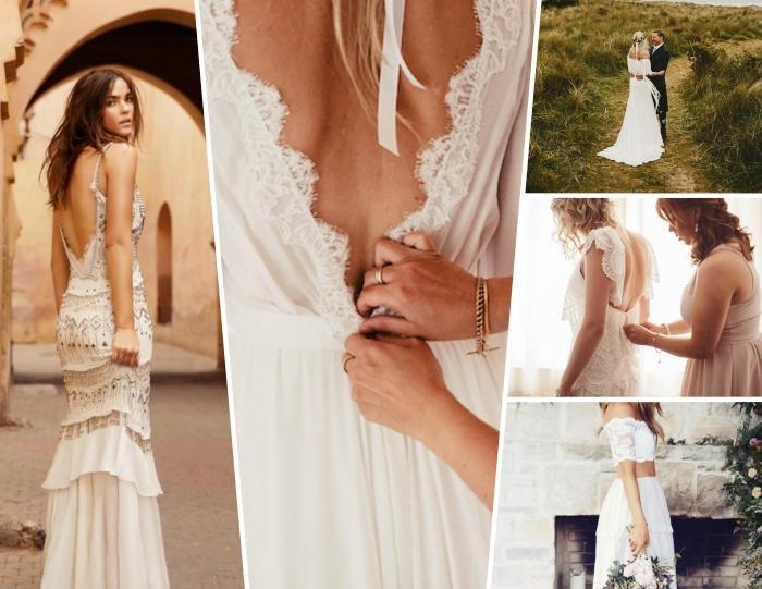 robe blanche boheme à dos ouvert avec bretelles et traineau, modèle de robe bohème deux pièces avec manches en dentelle