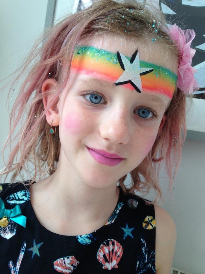 apprendre la peinture visage pour déguiser une fille pour un carnaval, modèle de peinture faciale à effet arc en ciel