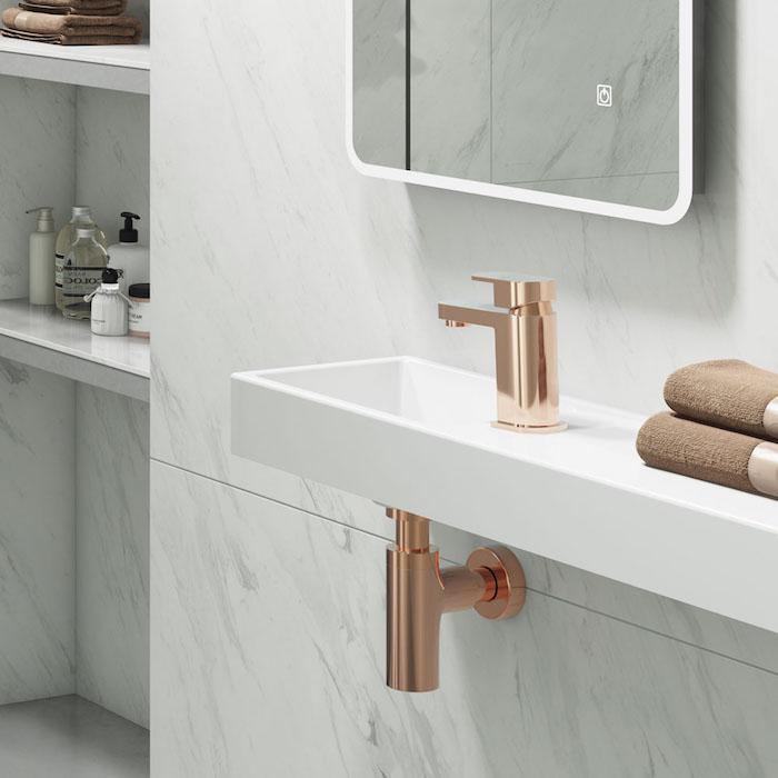 Miroir avec lumière tactile, meuble salle de bain marbre, amenagement salle de bain lux en marbre