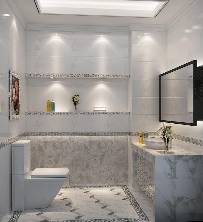 Toilette classique, salle de bain marbre blanc et bois à l'ancienne, salle de bain marbre blanc, meuble lavabo marbre