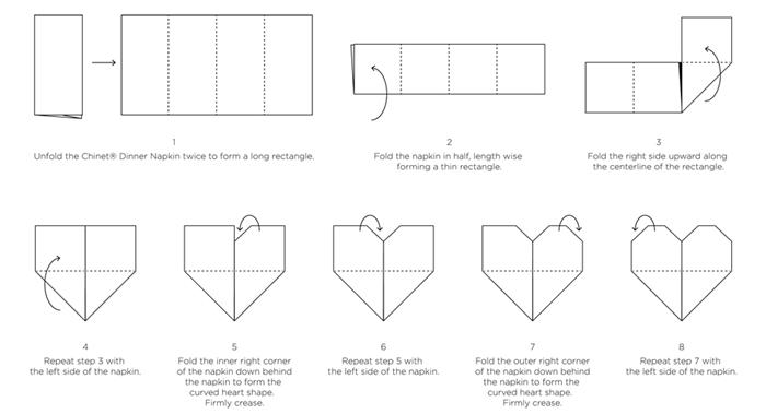 schema comment plier une serviette en forme de coeur technique de pliage serviette facile anniversaire diner romantique idees