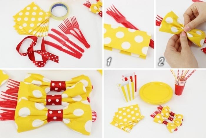 comment décorer une table d'anniversaire d'enfant en rouge et jaune, idée de pliage serviette simple en noeud papillon