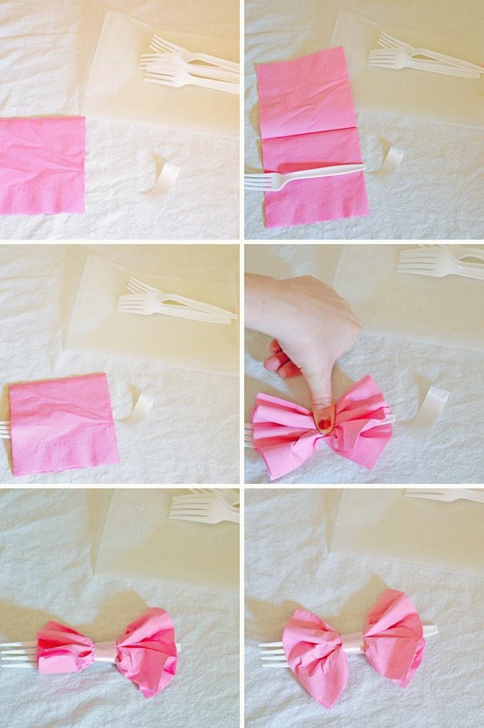 techniques de pliage de serviettes en papier facile, comment plier une serviette en forme de noeud papillon facile