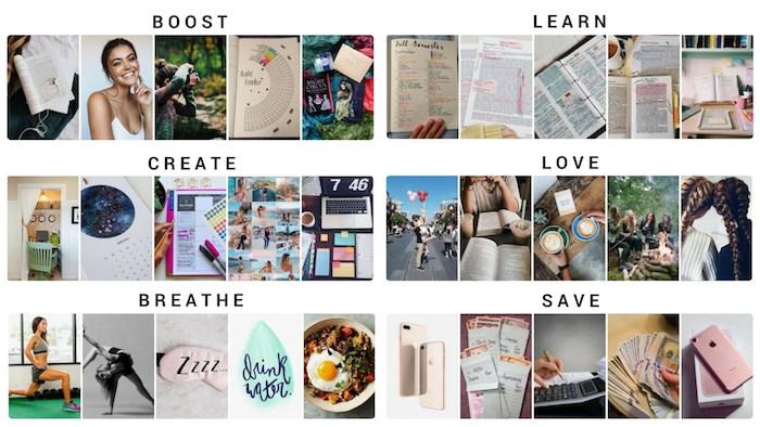Diviser les 6 objectifs les plus importantes en un cadre photo personnalisé, visuelle représentation des rêves