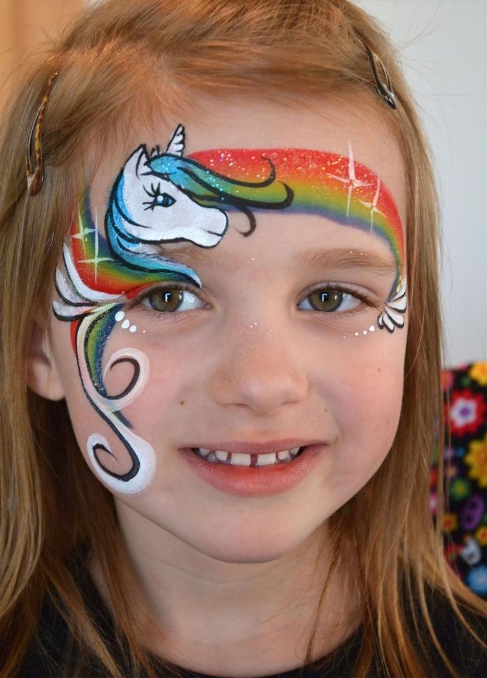 comment maquiller une fille pour carnaval, idée de maquillage de carnaval facile à réaliser soi-même avec maquillage licorne