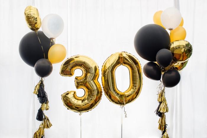 exemple de deco anniversaire noir et or avec ballons en hélium, idées quelles couleurs combiner pour une fête stylée