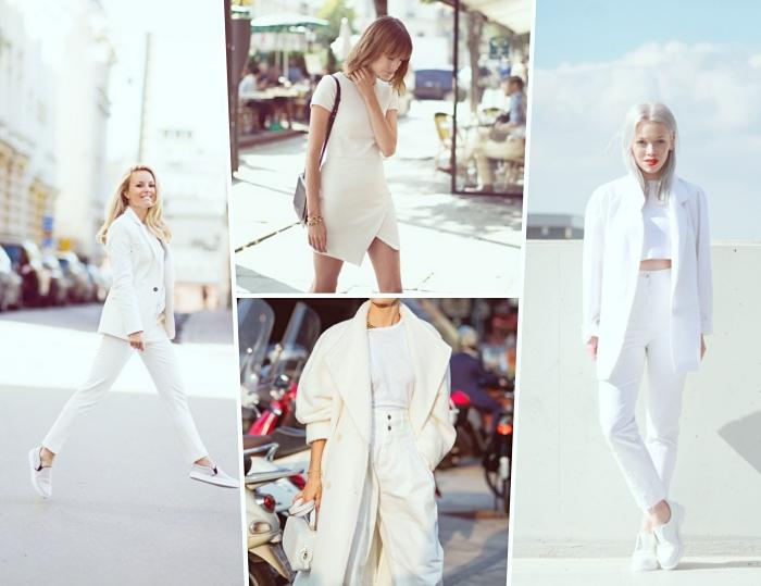 idée de tenue chic femme en vêtements blancs, comment bien s'habiller de style casual chic avec pantalon et chaussures sport