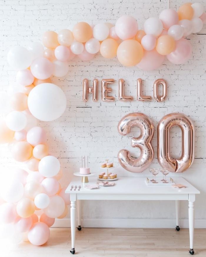 organiser une fête d'anniversaire petit budget à la maison, décoration pièce blanche avec ballons de couleurs pastel pour party anniversaire 30 ans