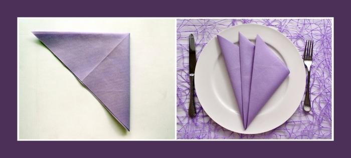 exemple comment plier une serviette en triangle pour réaliser une jolie deco de table anniversaire en blanc et violet