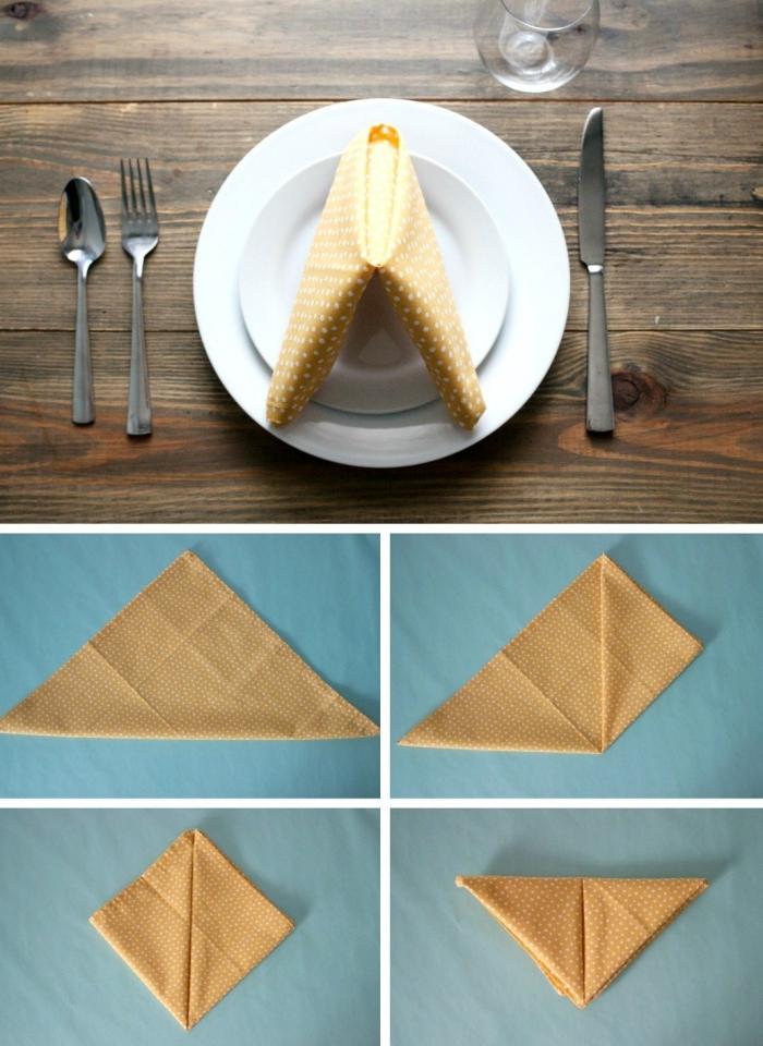 comment plier une serviette pour anniversaire, exemple arrangement de table avec assiette ronde et serviette originale