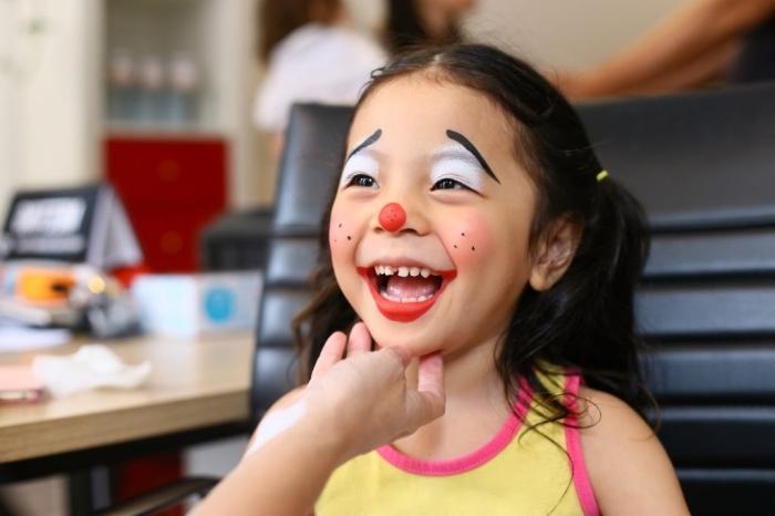 idée de masque de carnaval facile à dessiner soi-même, exemple de déguisement de petite fille en clown pour carnaval