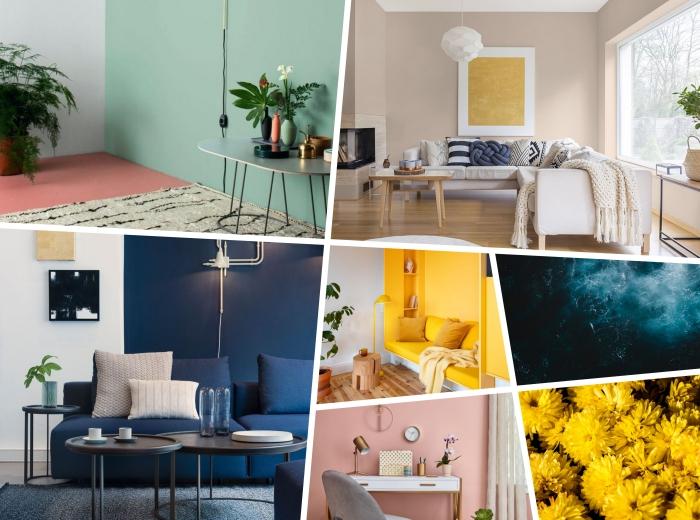 idée de tendance couleur 2020 pour un salon, design pièce beige aménagée avec meubles en bois et blanc et déco aux accents colorés