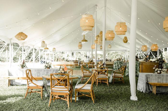suspensions orientales au dessus de chaises et tables fleuries dans tente sur l herbe, theme de mariage garden party