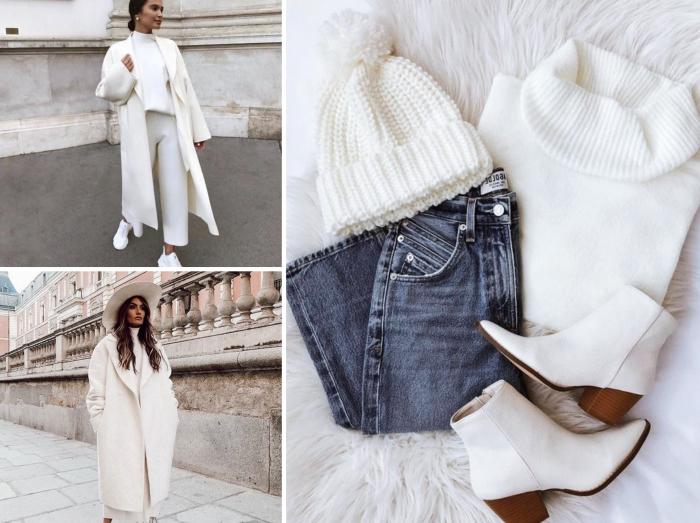 tendance mode femme hiver 2020, look casual chic avec manteau femme oversize et capeline de couleur blanche