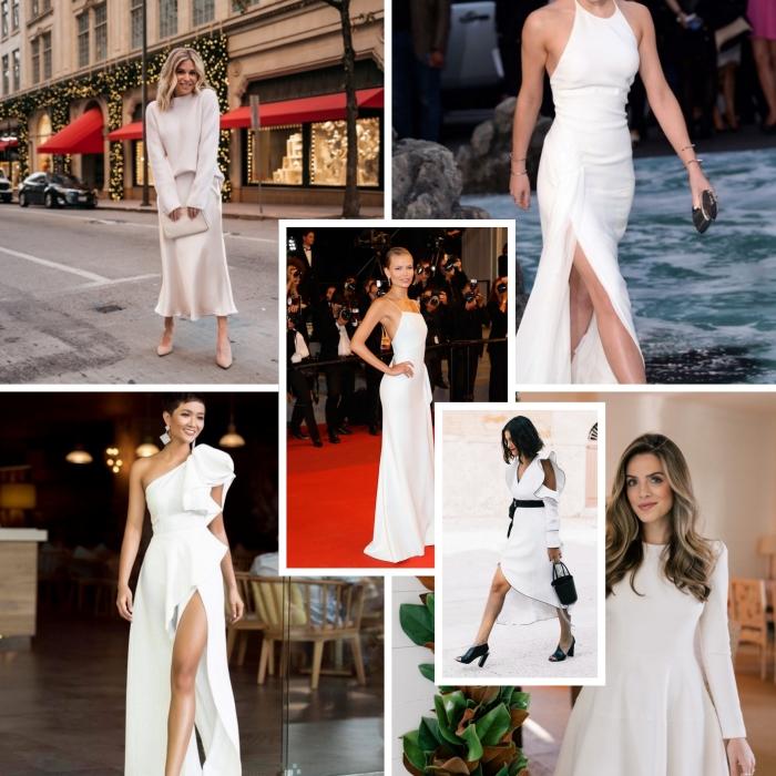 modèles de robe de soirée longue et élégante, tenue stylée en jupe de satin longue et blanche avec pull oversize