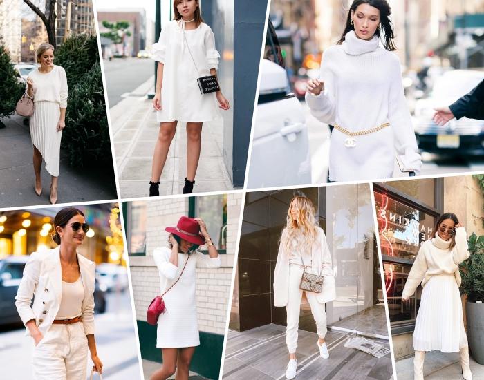 comment bien s'habiller femme en hiver avec robe longue blanche et accessoires de couleur rouge foncé tendance