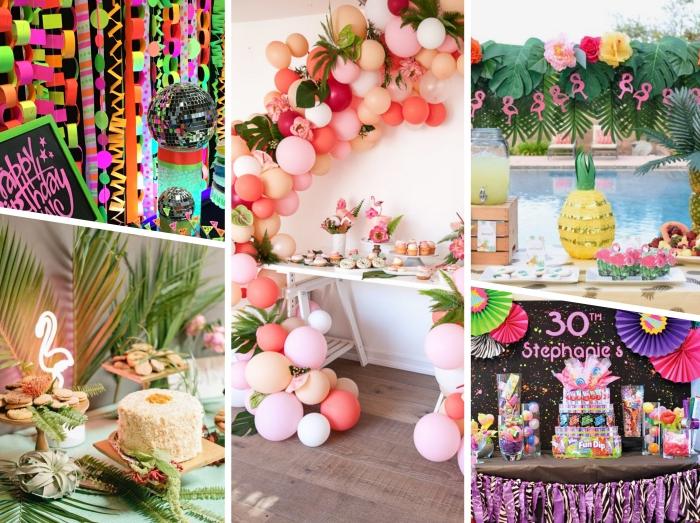 idée anniversaire 30 ans sur thème, décoration festive de style tropical avec figurine lumineuse flamant rose et feuilles vertes