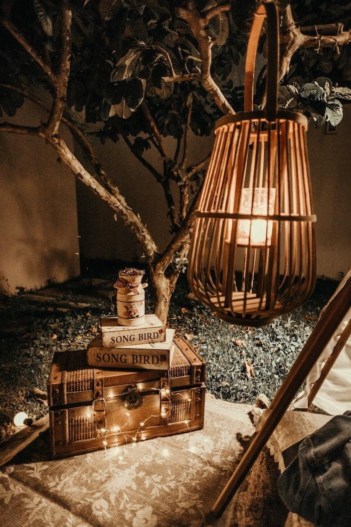 Cage d'oiseau lampe, valise vintage, decor de table pour la saint valentin, decoration fete romantique