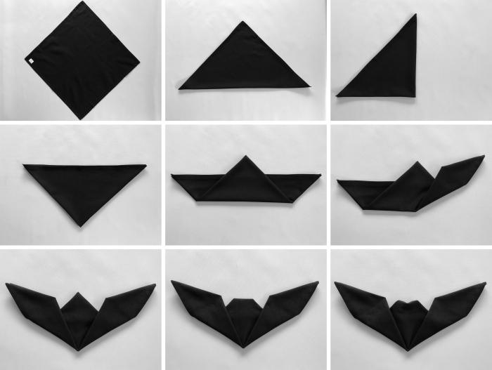 étapes à suivre pour réaliser un pliage de serviette en papier facile sous forme de chauve souris pour un party halloween