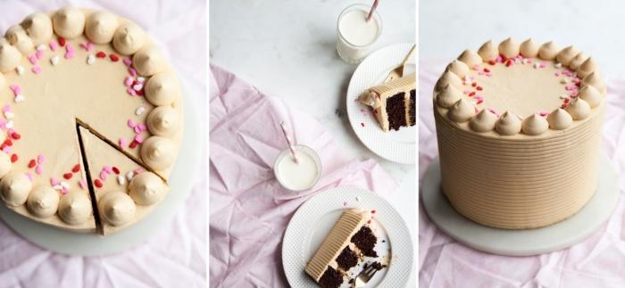 idée quel dessert préparer pour un repas saint valentin romantique, modèle de gâteau rond au chocolat noir et caramel