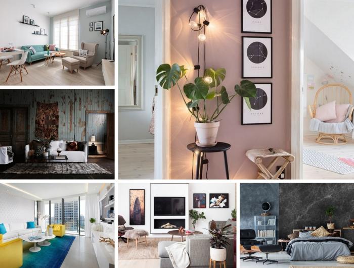 exemple de deco appartement moderne aux murs blanc et bleu pastel aménagé avec meubles beige et un canapé turquoise en velours