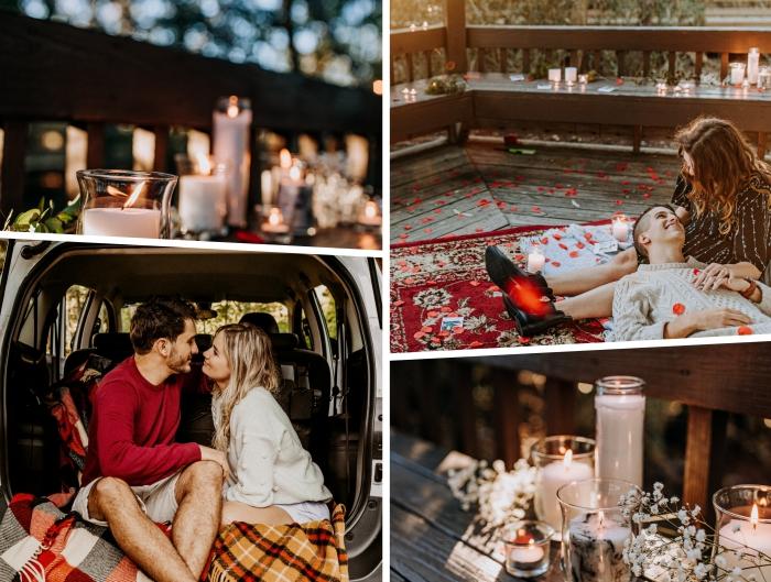 idée d'activité en couple romantique et amusante, organiser un petit voyage en amoureux, créer une ambiance romantique sur sa terrasse avec fleurs et bougies